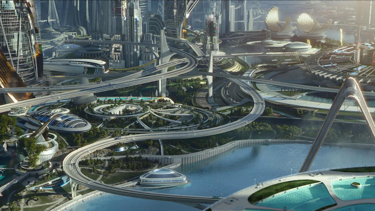 Futuristische concept art 'Tomorrowland'
