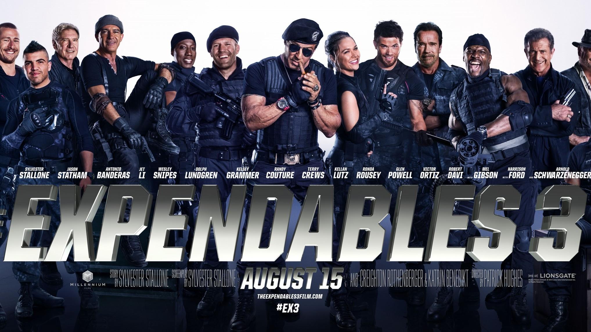 Vrolijke gezichten op nieuw affiche 'The Expendables 3'