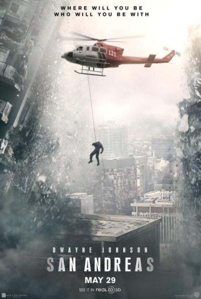 Dwayne Johnson bungelt op poster 'San Andreas'