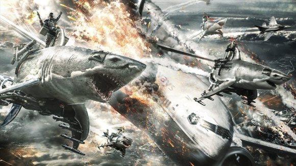 Clip 'Sky Sharks' - Nazi-zombies op vliegende haaien