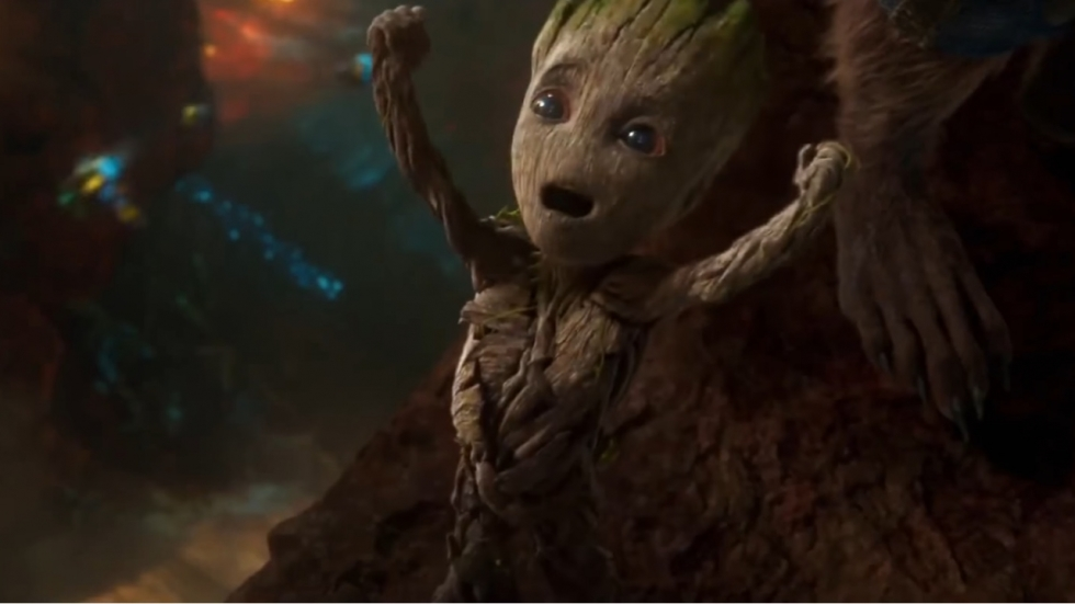 Beelden 'Guardians of the Galaxy vol. 2': Baby Groot vs baby dino's