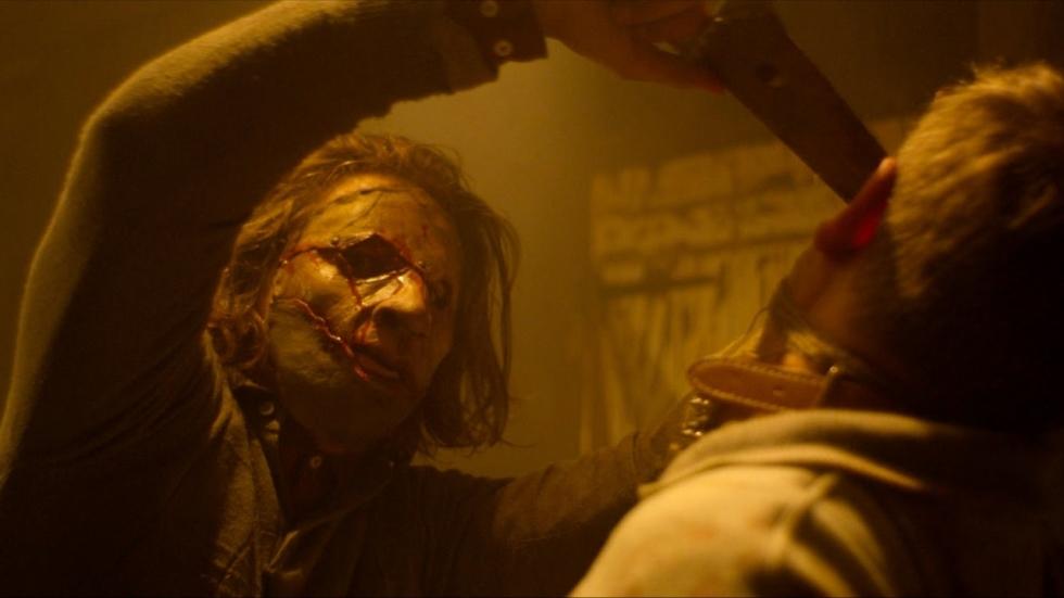 Aparte poster voor horrorfilm 'Leatherface'