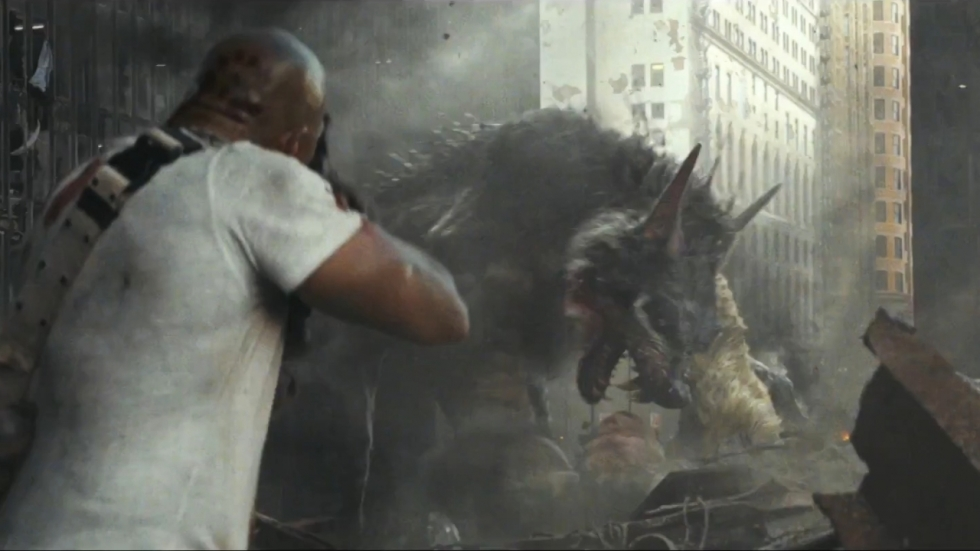 Vliegende wolf in trailer Dwayne Johnson-vehikel 'Rampage'