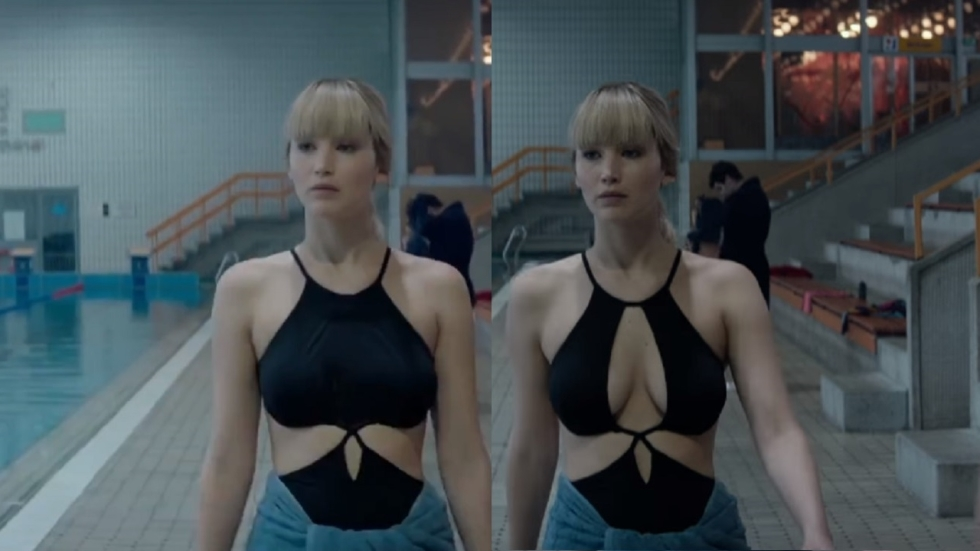 Borsten Jennifer Lawrence weggewerkt in tv-trailer 'Red Sparrow'