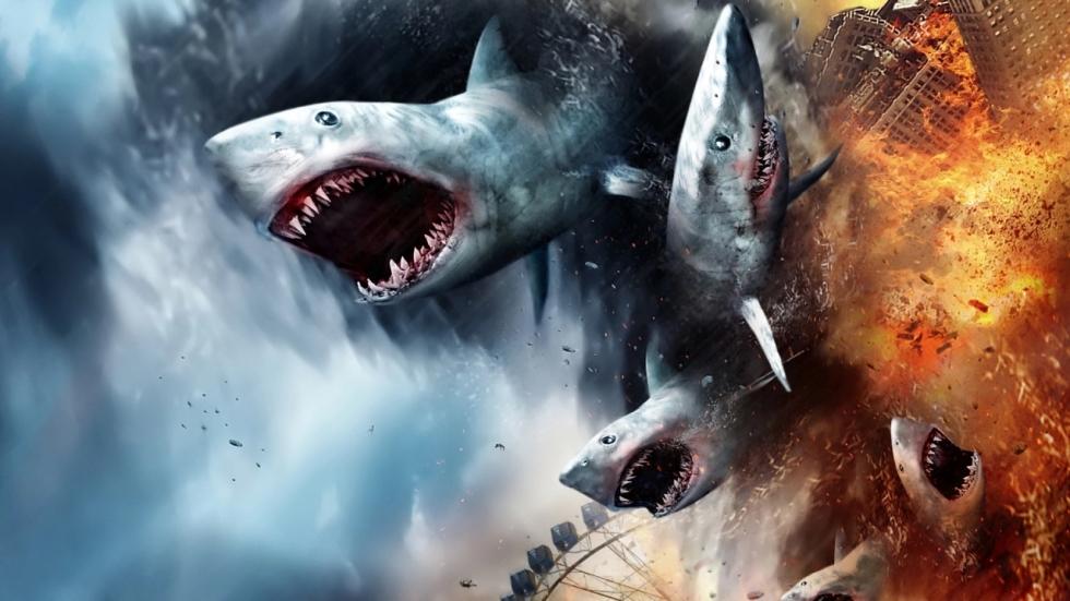 Stormachtige beelden 'The Last Sharknado: It's About Time!'