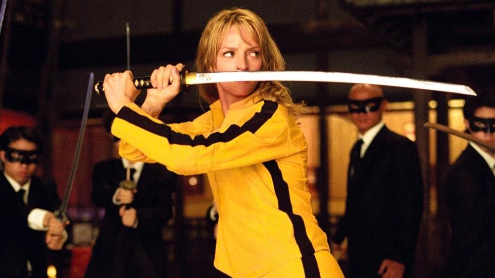 Uma Thurman haatte het iconische gele pak van The Bride in 'Kill Bill'